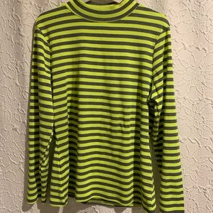 Neon and grey stripe mock neck